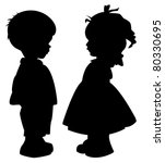The Two Silhouette Of A Boy An...