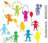 colored children silhouettes... | Shutterstock .eps vector #80332102