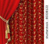 red curtain with gold pattern.... | Shutterstock .eps vector #80338123