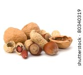 Various Nuts Mix Isolated On...