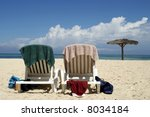 Two beach seats at a resort in Cuba - stock photo