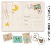 Baby Boy Arrival Postcard With...