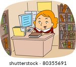 illustration of a librarian at... | Shutterstock .eps vector #80355691