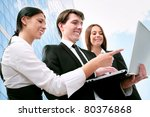 young business colleagues... | Shutterstock . vector #80376868