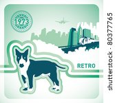 Retro background with illustrated dog. Vector illustration. - stock vector