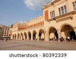 Renaissance Sukiennice (Cloth Hall, Drapers' Hall) in Kraków, Poland, is one of the city's most recognizable icons. - stock photo