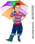 Smiling little boy holding colored umbrella, isolated on white - stock photo
