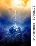 Big lightning hit planet Earth in dark dramatic sky - stock photo