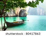 long boat on island in thailand | Shutterstock . vector #80417863