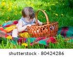 child having picnic in summer... | Shutterstock . vector #80424286