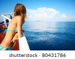 young woman in swimsuit... | Shutterstock . vector #80431786
