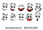 cartoon faces  for humor or... | Shutterstock .eps vector #80434189
