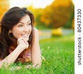beautiful young girl lying on... | Shutterstock . vector #80437330
