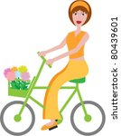 girl on cycle | Shutterstock .eps vector #80439601