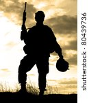 Silhouette Of Us Soldier With...