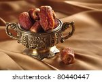 a vintage bowl of dates | Shutterstock . vector #80440447