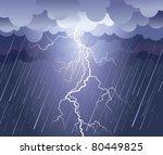 lightning strike.vector rain...   Shutterstock .eps vector #80449825