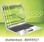 A conceptual business technology background. Woman avatar face forming and coming out of laptop screen. - stock photo