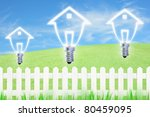 light bulb model of a house and ... | Shutterstock . vector #80459095