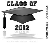 Glossy vector illustration of a hat and the words Class of 2012, reflected on a clear background - stock vector