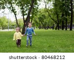 happy sister and brother... | Shutterstock . vector #80468212