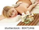 young blonde woman at spa... | Shutterstock . vector #80471446