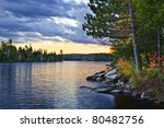 Dramatic Sunset And Pines At...