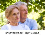 happy elderly couple in blue ... | Shutterstock . vector #80492065