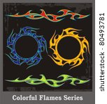 colorful flames and vehicle... | Shutterstock .eps vector #80493781