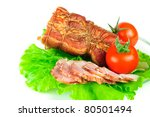 meat smoked bacon with lettuce and tomato - stock photo