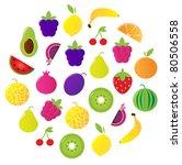 fresh fruit   berries circle... | Shutterstock .eps vector #80506558
