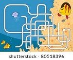 easy coral reef maze for kids. | Shutterstock .eps vector #80518396