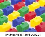 Colorful toy houses - stock photo