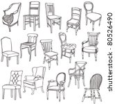 vintage chairs | Shutterstock .eps vector #80526490