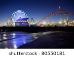 Santa Monica Pier At Night ...