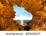 sunset into grotto. nature... | Shutterstock . vector #80565637