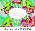 flower card with birds | Shutterstock .eps vector #80568934