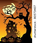 scene with halloween mansion 6  ... | Shutterstock .eps vector #80573407