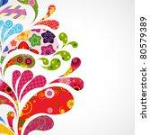 splash of floral and ornamental ... | Shutterstock . vector #80579389