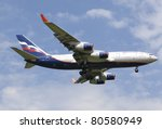 MOSCOW, RUSSIA - JULY 01: Plane IL96 landing in Moscow airport July,1 2011.Aeroflot operates domestic and international passenger services to 97 cities in 48 countries  and uses a fleet of 94 aircraft - stock photo