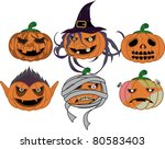 halloween pumpkin  vampire and... | Shutterstock .eps vector #80583403