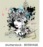 graphic portrait of a woman | Shutterstock .eps vector #80584468