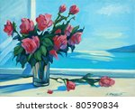 Illustration. bouquet of scarlet roses against an open window with a view of the sea. A reproduction from a picture drawn by oil on a canvas. - stock photo