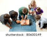 group of teenagers learing cpr  ... | Shutterstock . vector #80600149