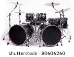 Drum Kit Isolated On White...