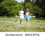 two girls spending time... | Shutterstock . vector #80613916