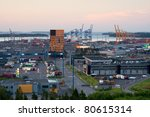 Port of Vuosaari, Helsinki in early summer morning - stock photo