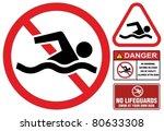 No Swimming  Hazard Warning...