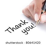 Hand writing thank you, isolated on white background - stock photo