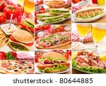 collage of different fast food... | Shutterstock . vector #80644885